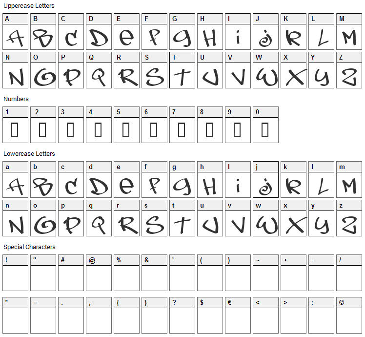 Tags Xtreme Font Character Map