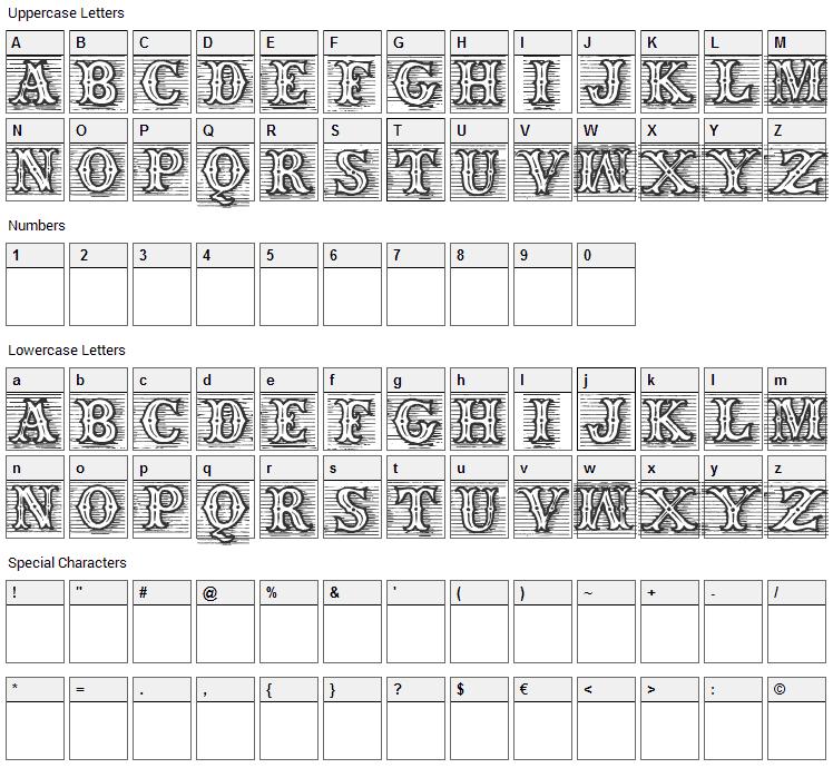 TagWood Font Character Map
