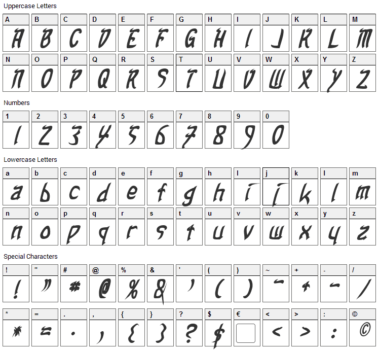 Taibaijan Font Character Map