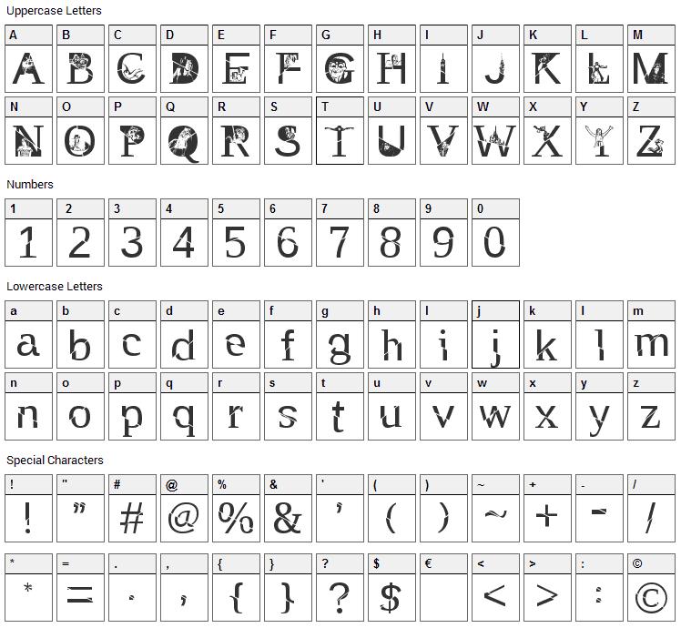 TAK Enchanted Font Character Map