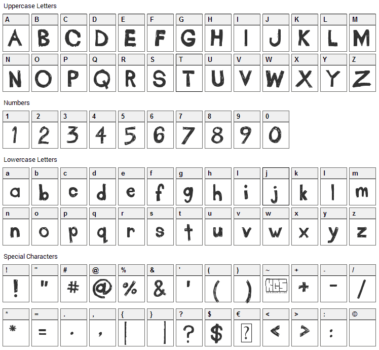 Take Out The Garbage Font Character Map