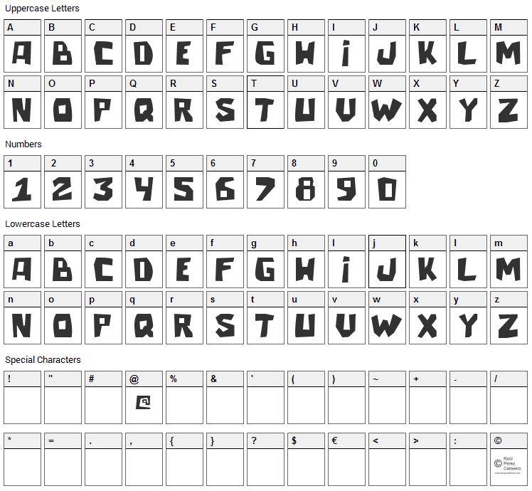 Talacha Font Character Map