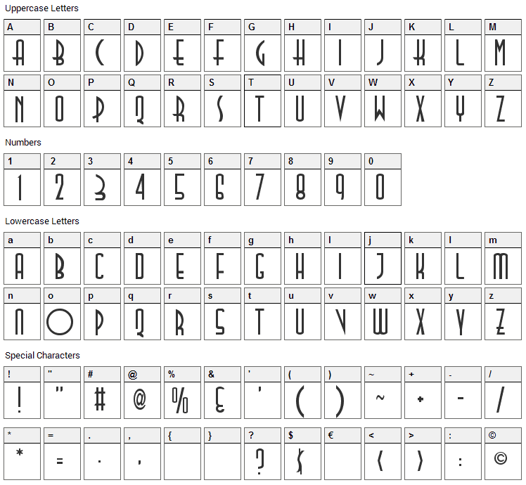 TallDeco Font Character Map