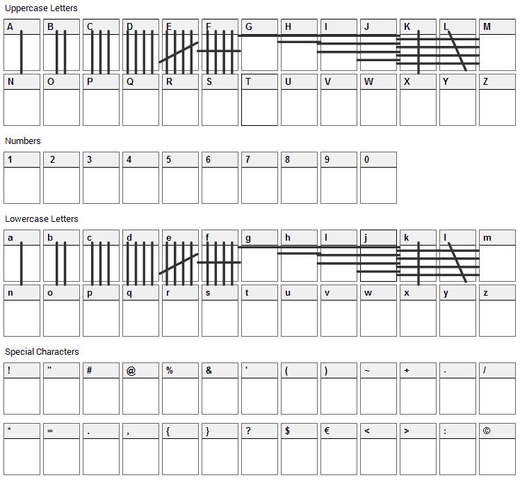 Tally Mark Font Character Map
