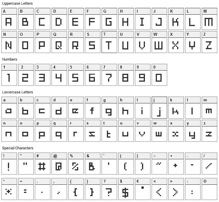 Tama Mini01 Font Character Map