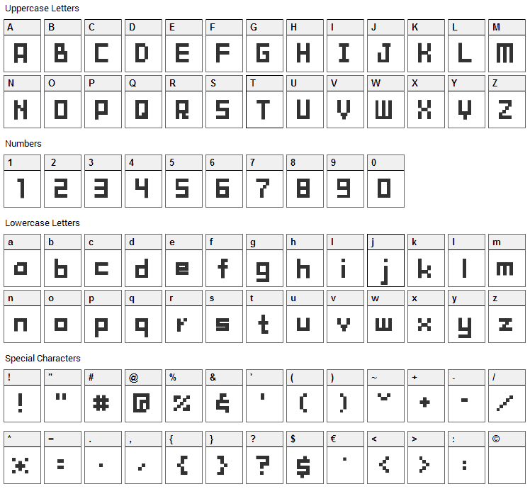 Tama Mini02 Font Character Map