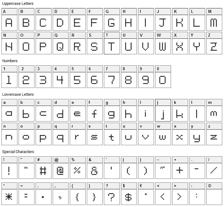 Tama SS01 Font Character Map