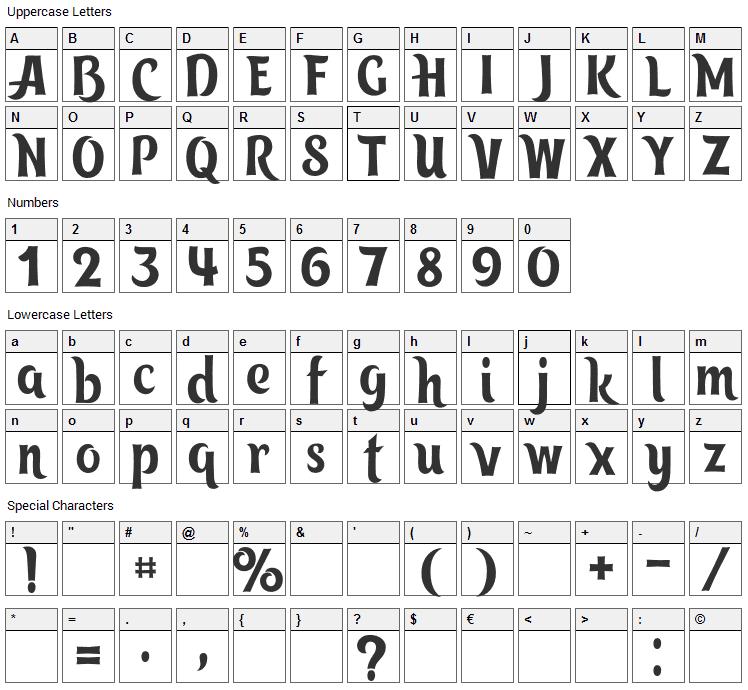 Tangak Font Character Map