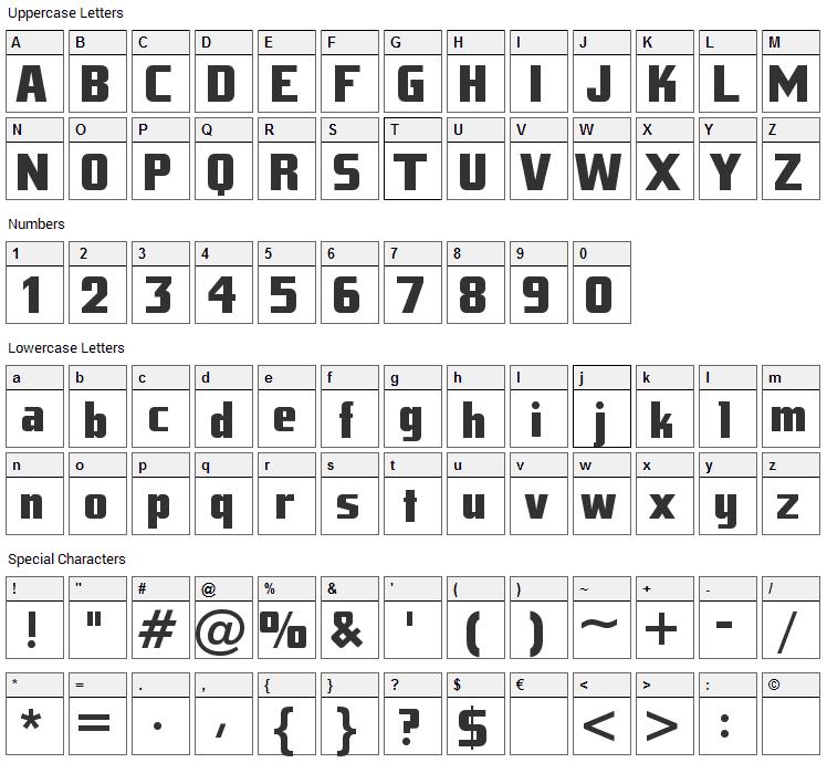 Tank Junior Font Character Map