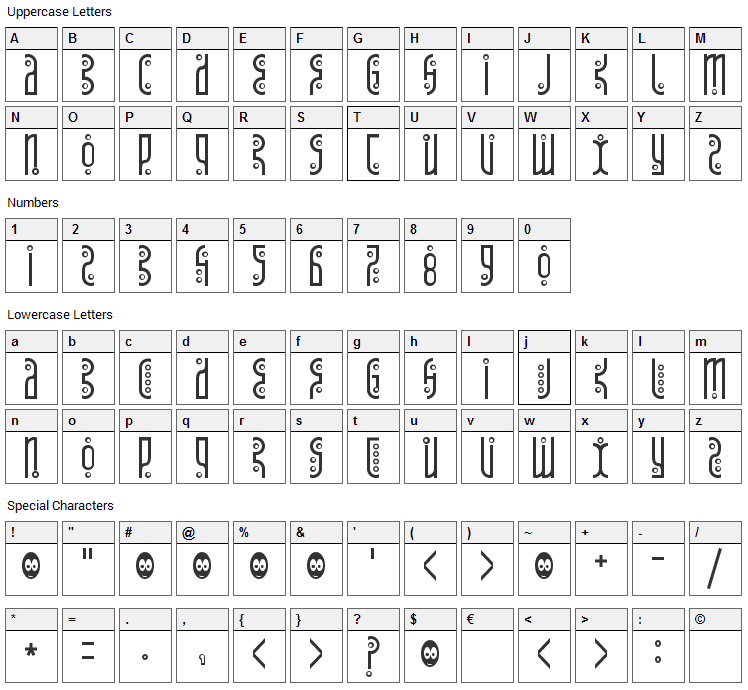 Tantrum Tongue Font Character Map