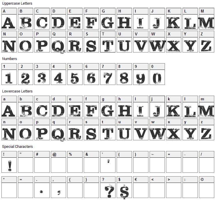 Tarantino Font Character Map