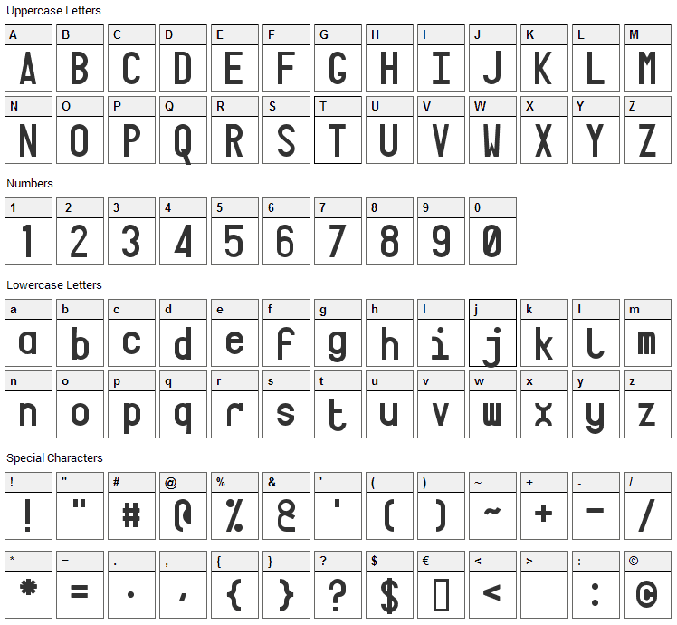 Targa Font Character Map