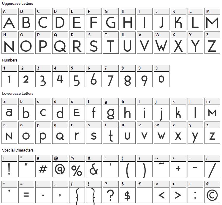 Tarpon Motel Font Character Map