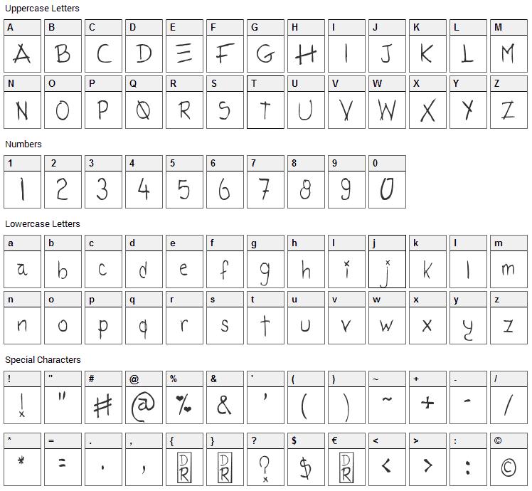 Tatida Rocking Font Character Map