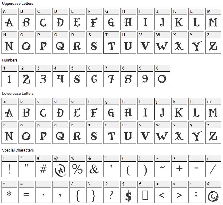 Tatoo Sailor Font Character Map