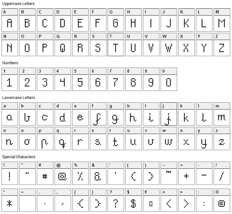 Teachers Pet Font Character Map