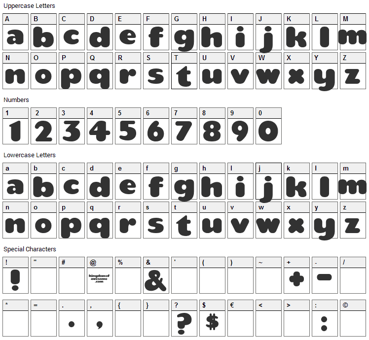 Teaspoon Font Character Map
