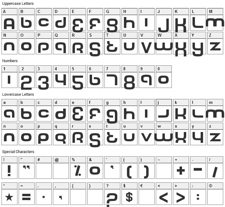 Tech Font Character Map