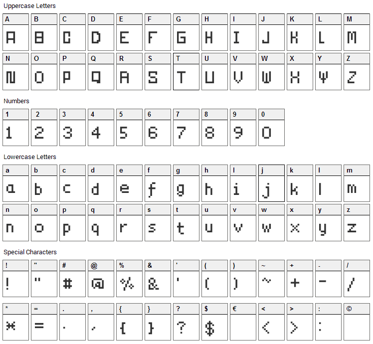 Technicality Font Character Map