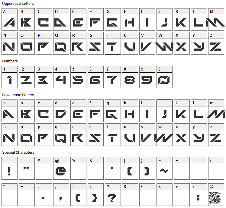 Techno Hideo Font Character Map