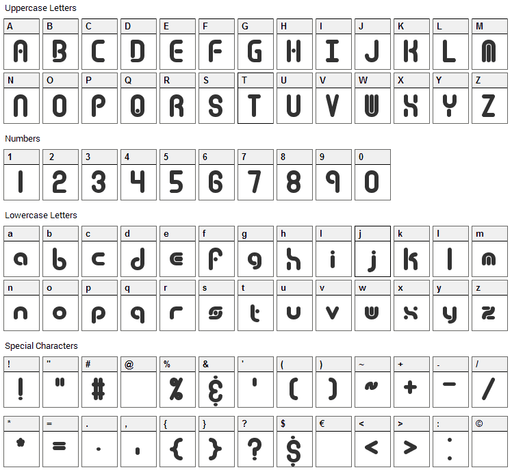 Techno Overload Font Character Map