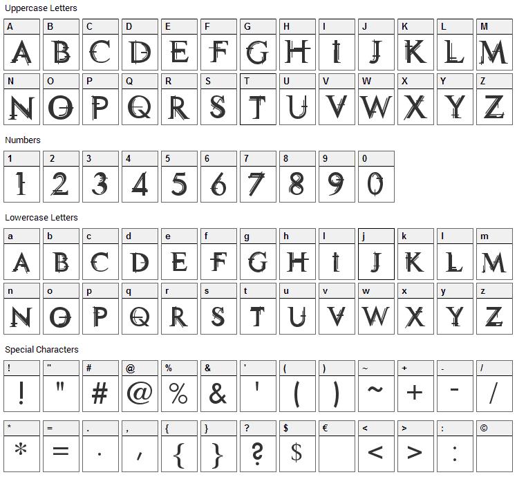 Technovia Caps Font Character Map