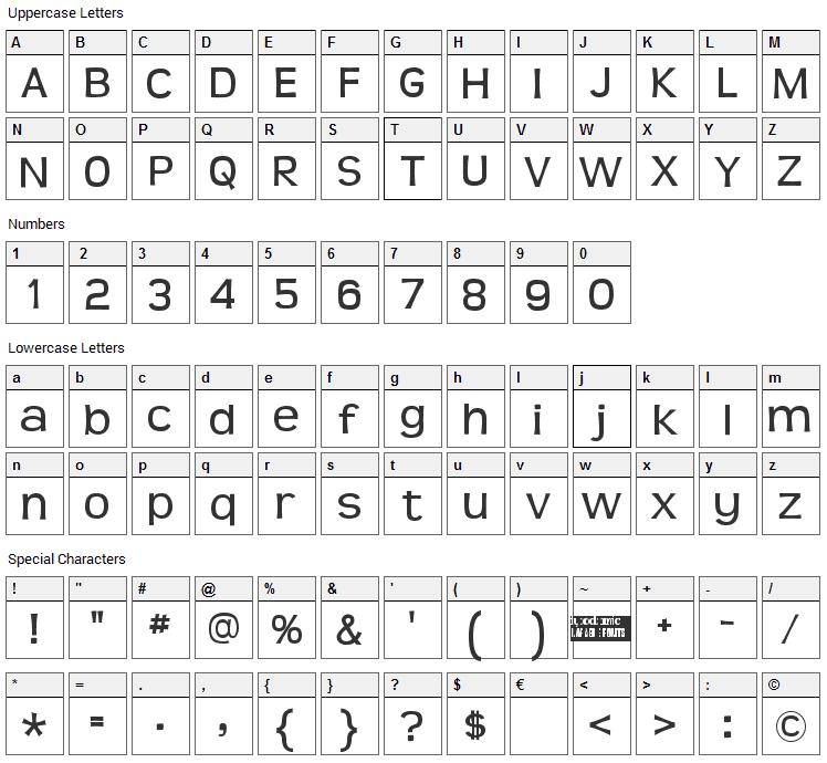 Teen Font Character Map