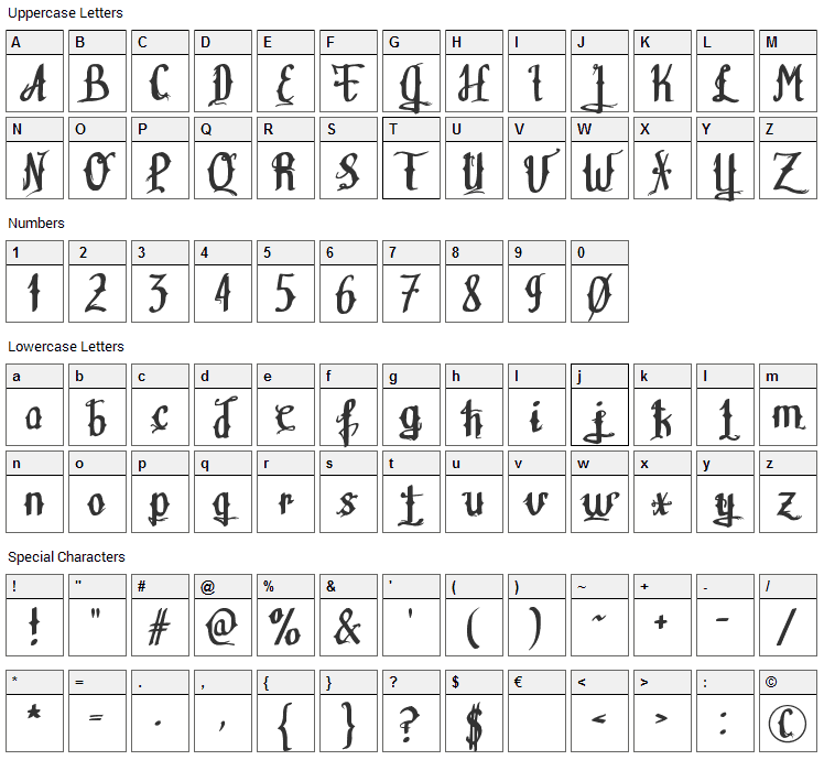 Teitheas Font Character Map