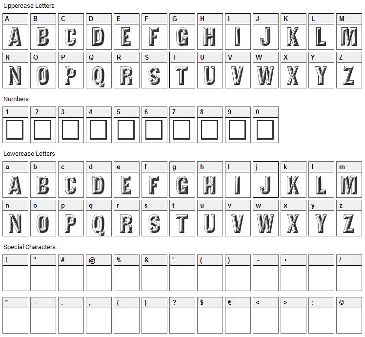 Tejaratchi Font Character Map