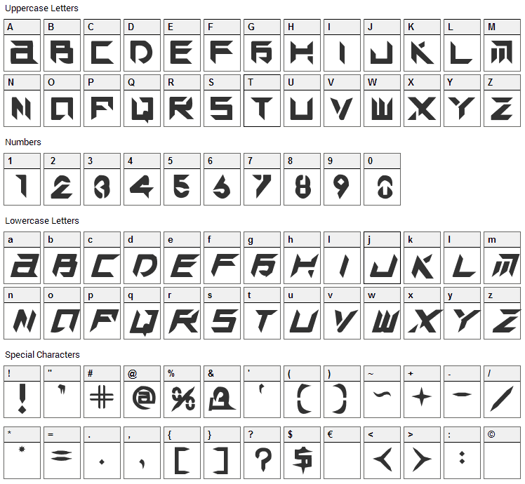 Tek Hed Font Character Map
