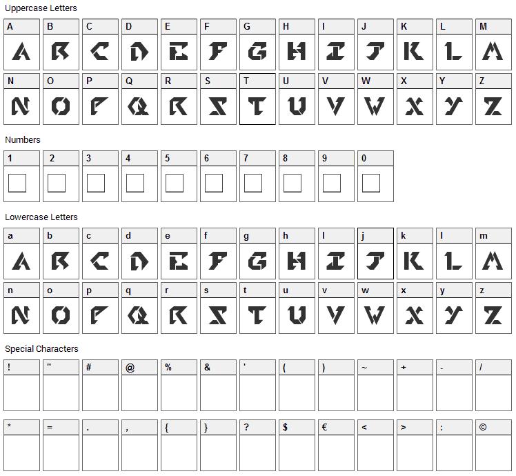 Tekhead PD Font Character Map
