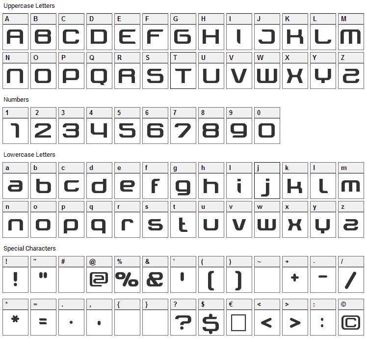 Tektrron Font Character Map