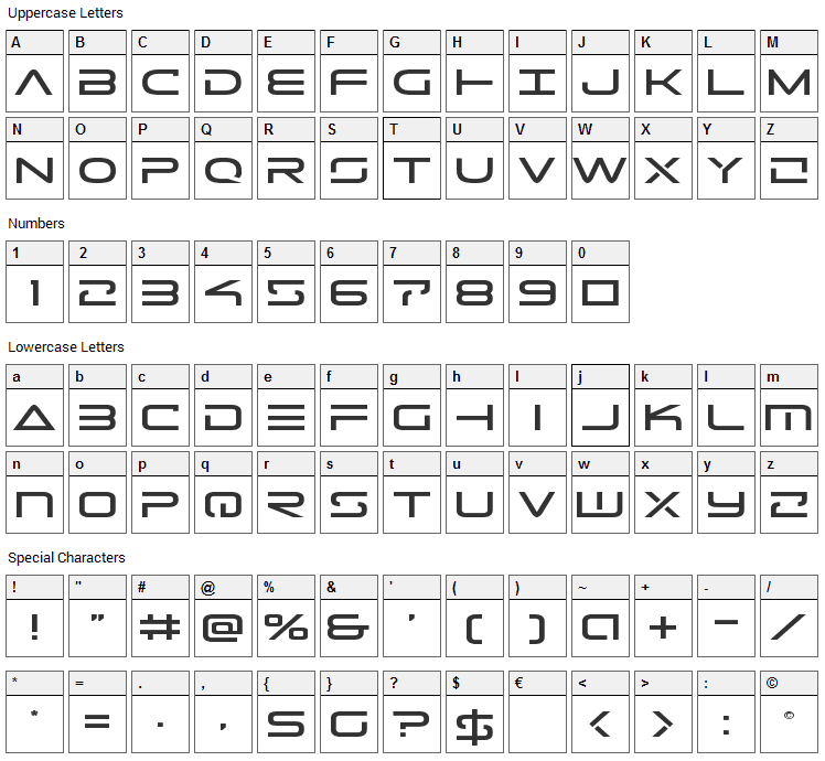 Tele-Marines Font Character Map