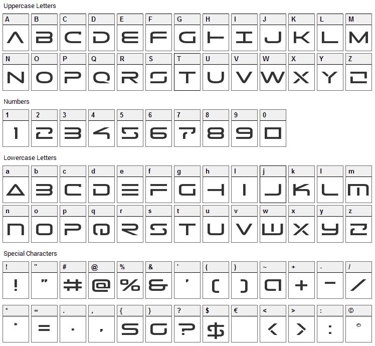 Tele-Marines Font Character Map