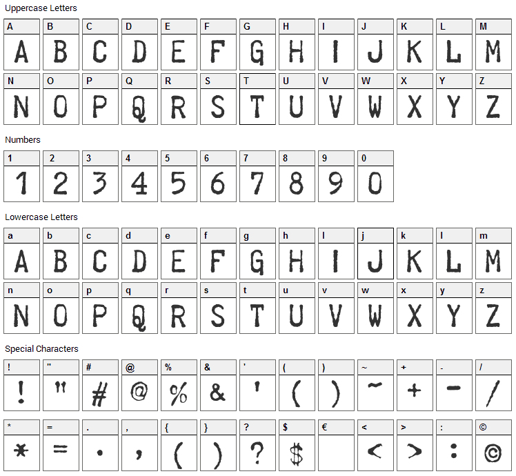 Telegraphem Font Character Map