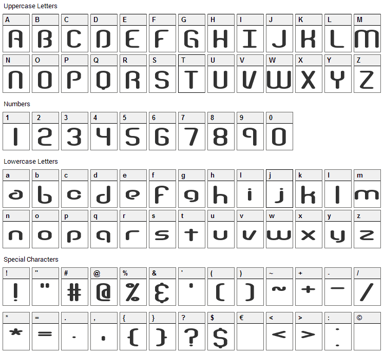 Telephasis Font Character Map