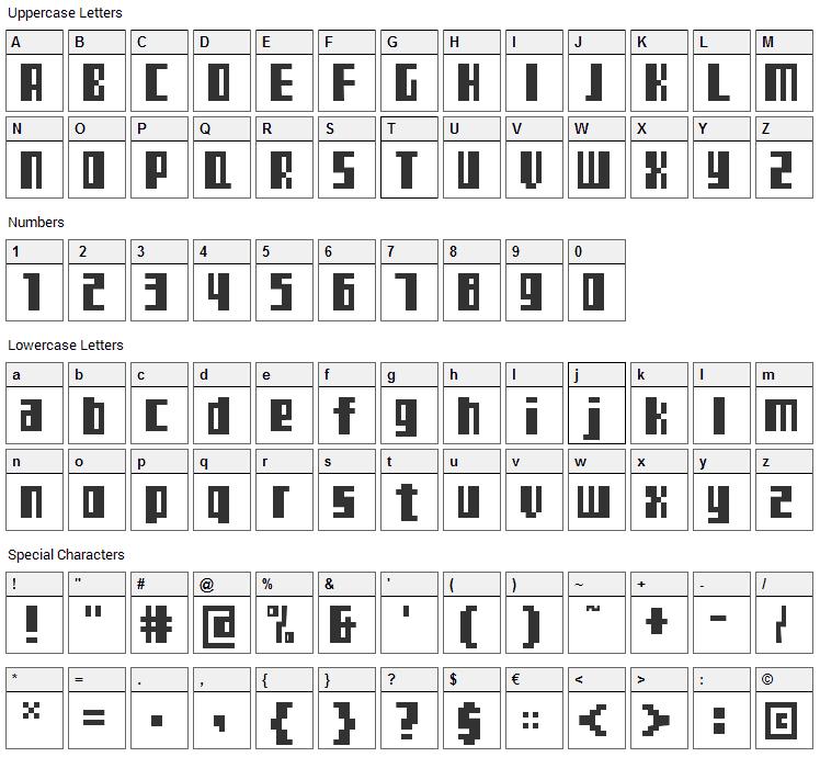 TeleTekst Font Character Map