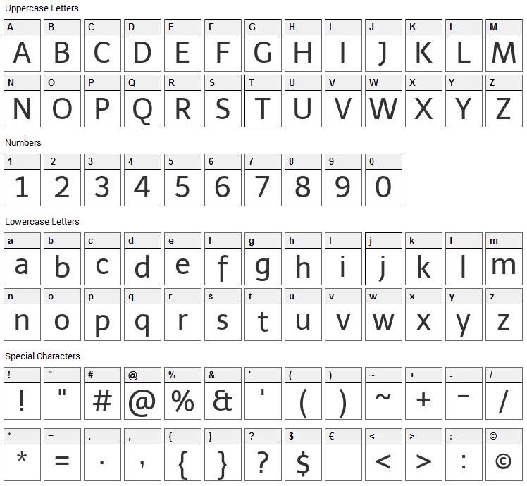 Telex Font Character Map