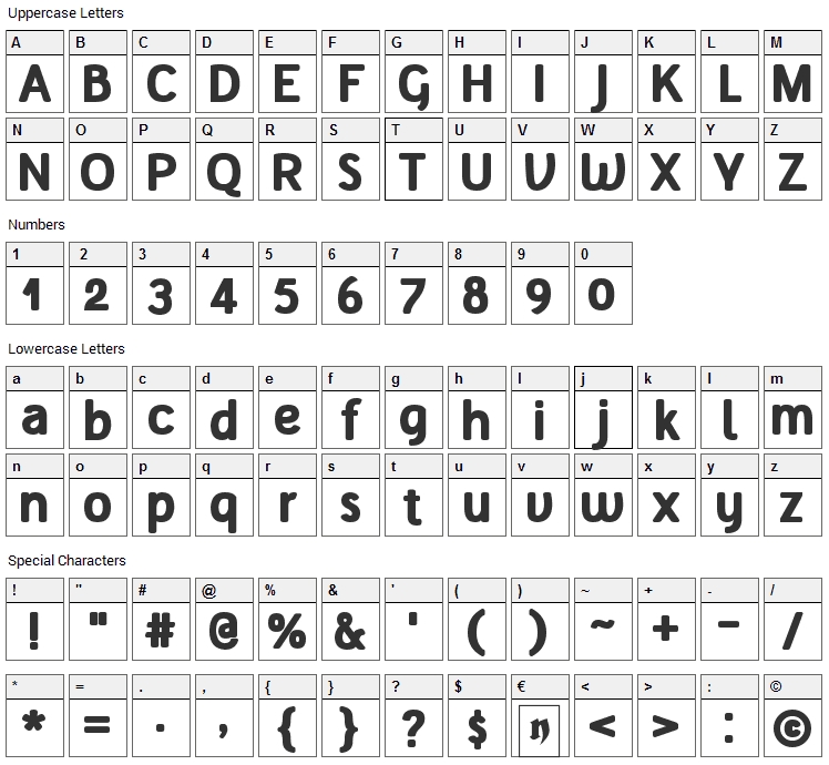 Tellural Font Character Map