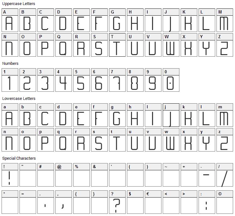 Temanotica Font Character Map