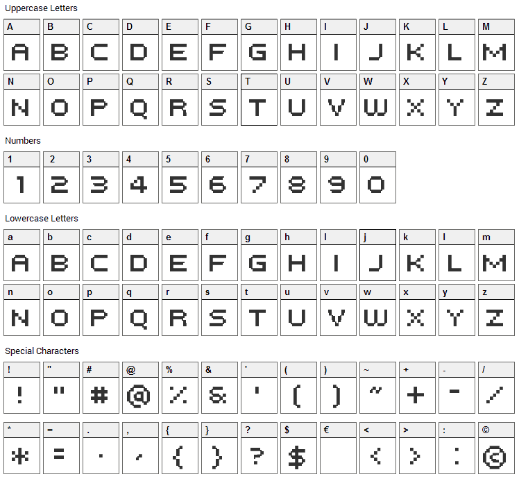 Tempesta Five Font Character Map