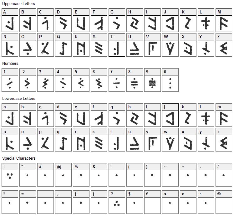 Temphis Brick Font Character Map