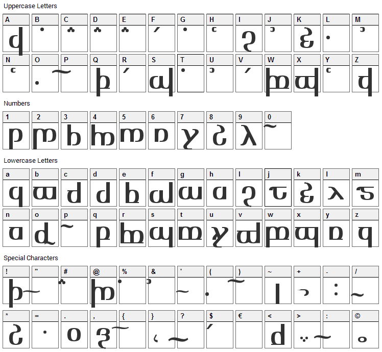 Tengwar Optime Diagon Font Character Map