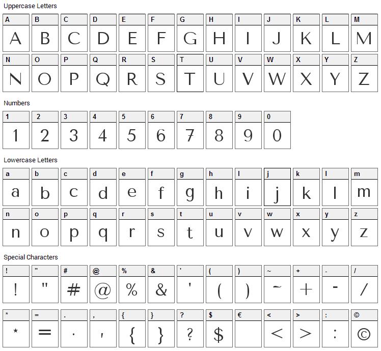 Tenor Sans Font Character Map