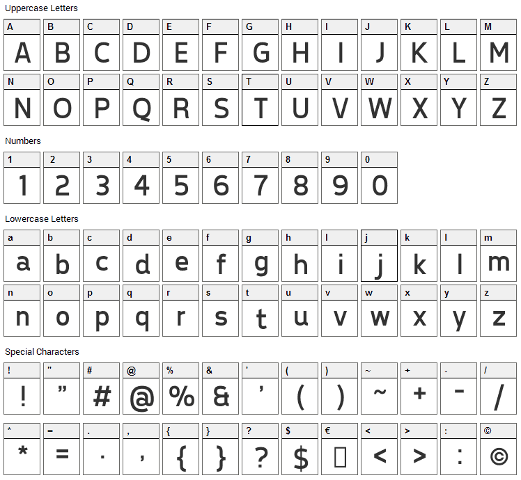 Tepeno Sans Font Character Map