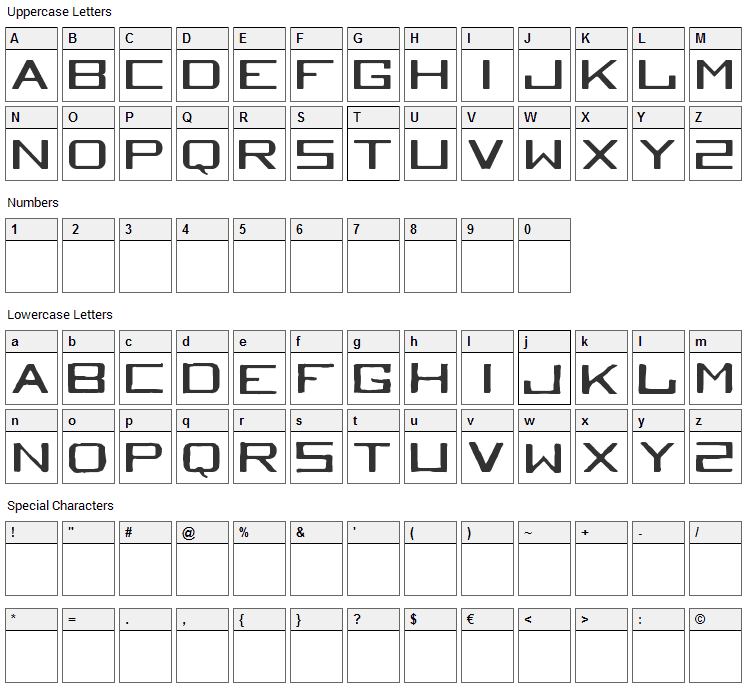 Tequila Heights Sobria Borracha Font Character Map