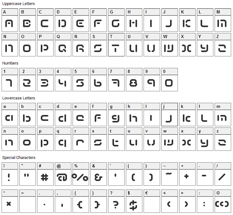 Term Font Character Map