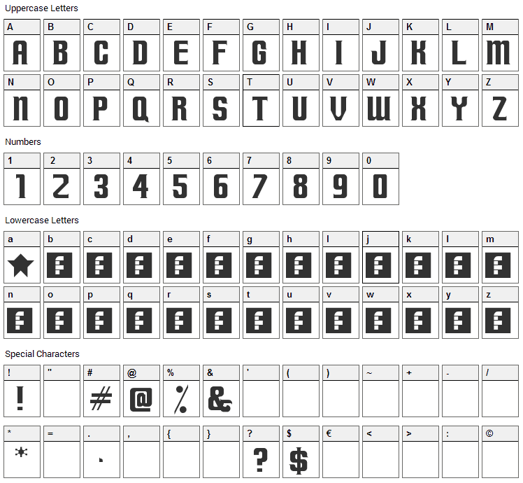 Terminally Chisseled Font Character Map