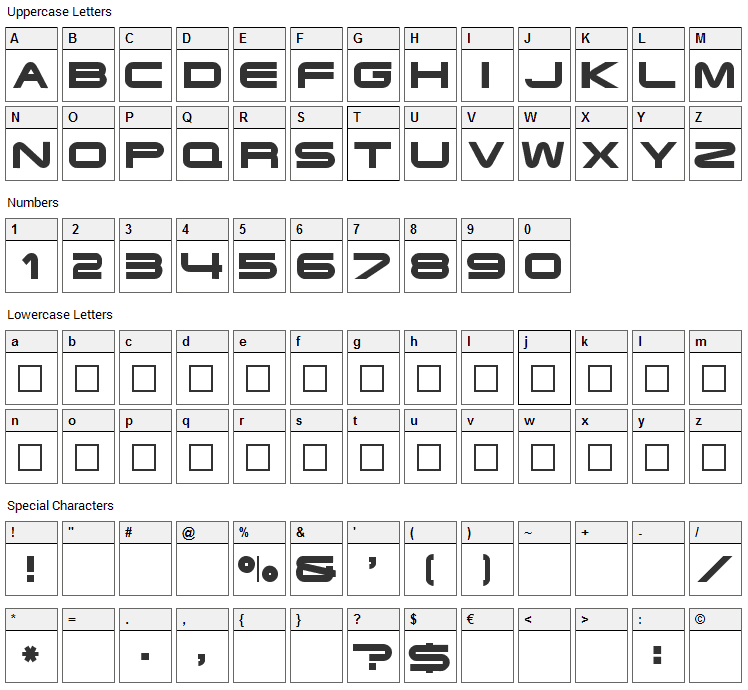 Terminator Font Character Map