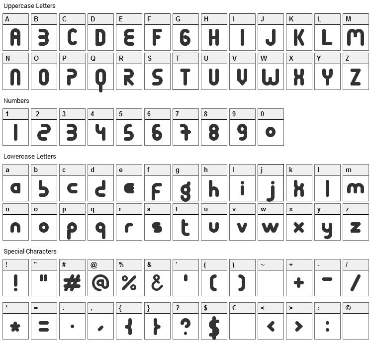 Terondaremorena Font Character Map